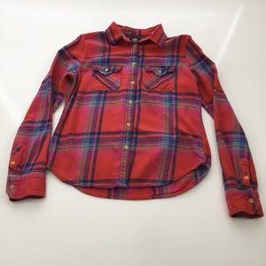 Vintage American Eagle Red Plaid Flannel Top